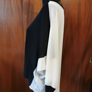 XXI Tops - XXI Black And Cream Rayon Top Size Large